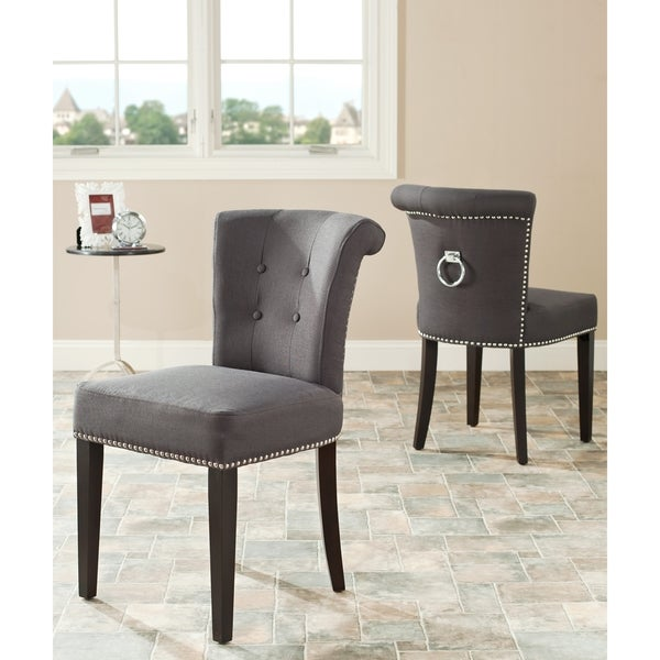 Safavieh En Vogue Dining Carrie Grey Polyester Side Chairs (Set of 2)