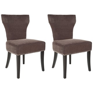 Safavieh En Vogue Dining Matty Brown Polyester Nailhead Dining Chairs (Set of 2)