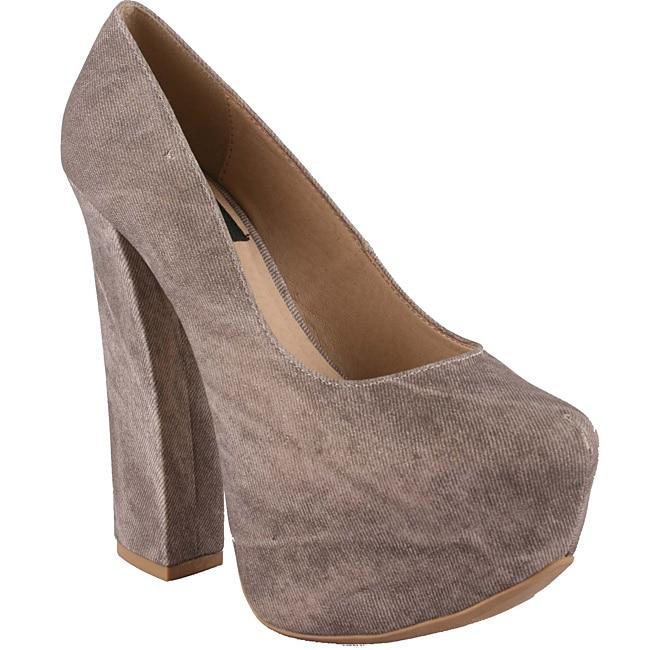 Riplay by Beston Women's 'Anne-32' Grey Snub Toe Platforms