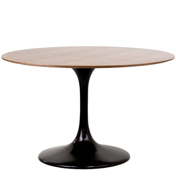 Eero Saarinen Style Tulip Dining Table in Black with Walnut Top