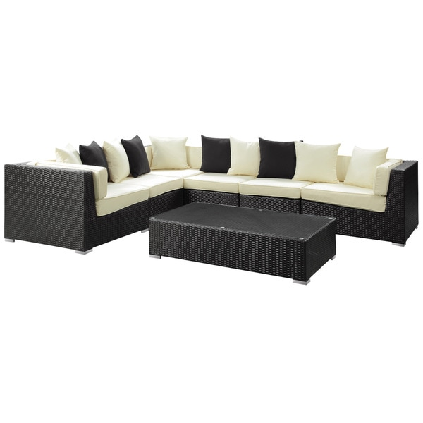 Lambid Outdoor Rattan Sectional and Coffee Table 7-piece Set