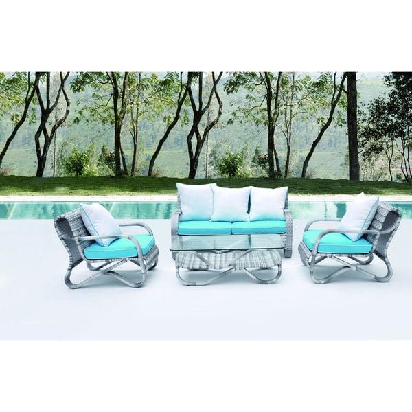 Crescent Outdoor Rattan Sectional Sofa 4-piece Set
