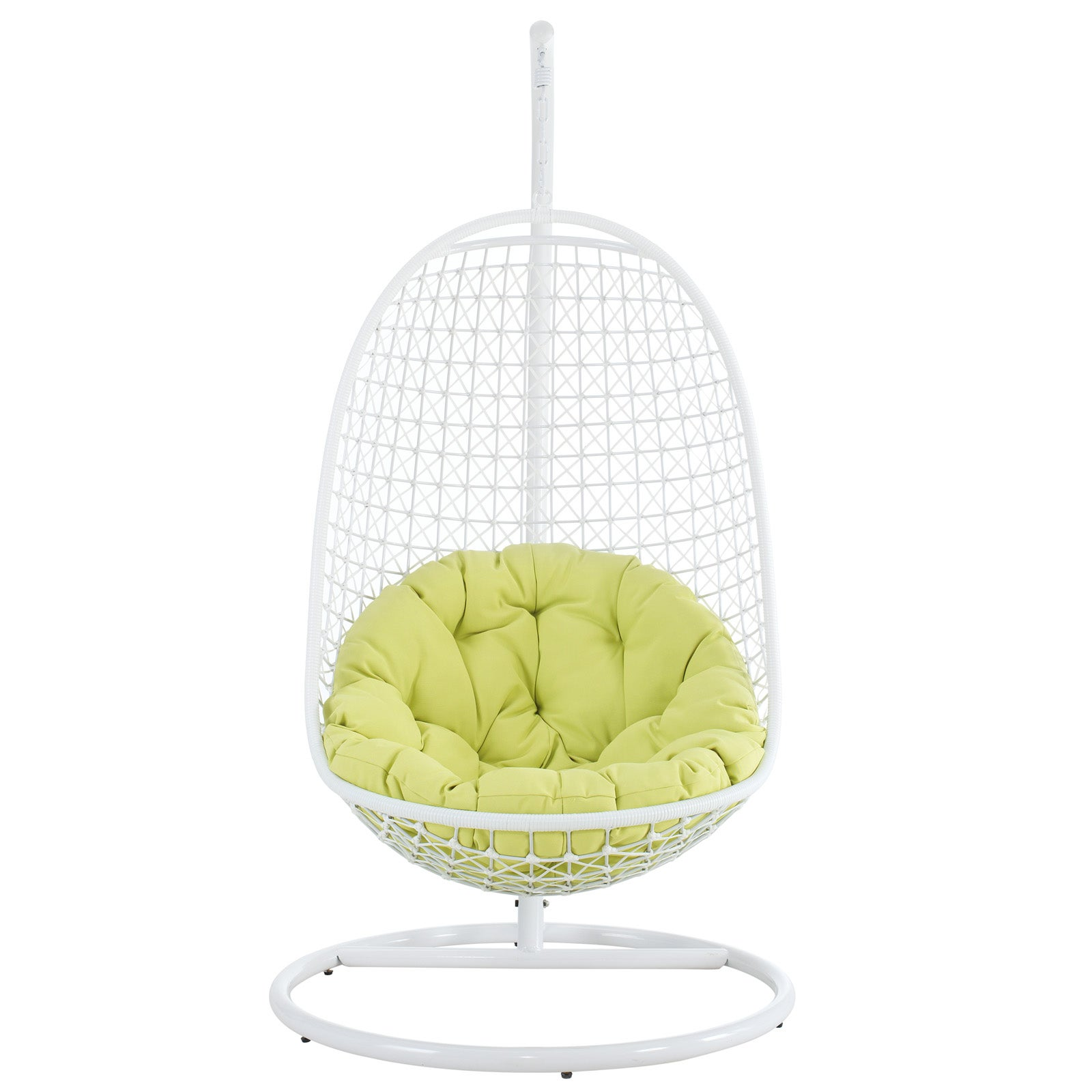Modway Rattan Outdoor Patio Swing Chair (White with Green...