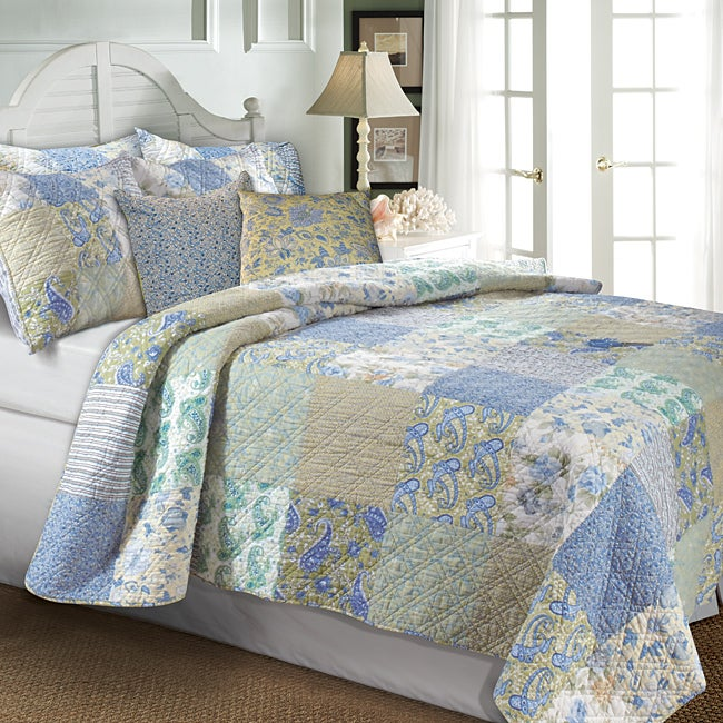 Greenland Home Fashions Vintage Jade 5-piece Quilt Bonus Set