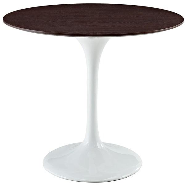 Eero Saarinen Style 36 Inch Walnut Top Tulip Dining Table   White