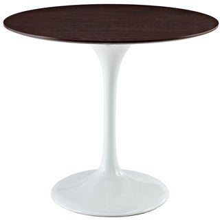 Eero Saarinen Style 36-inch Walnut Top Tulip Dining Table - White