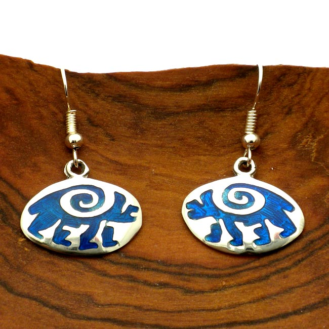 Hopi Bear Design Alpaca Silver Earrings (Mexico)