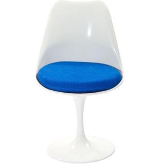 Eero Saarinen Style Tulip Side Chair with Blue Cushion