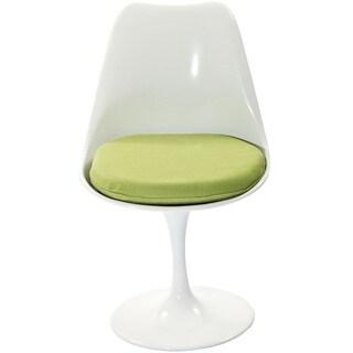 Eero Saarinen Style Tulip Dining Chair with Green Cushion