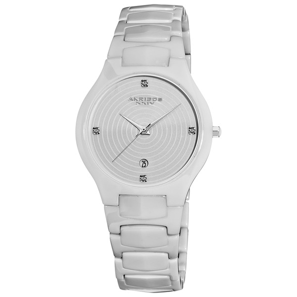 Akribos XXIV White Women's Quartz Slim Ceramic Watch
