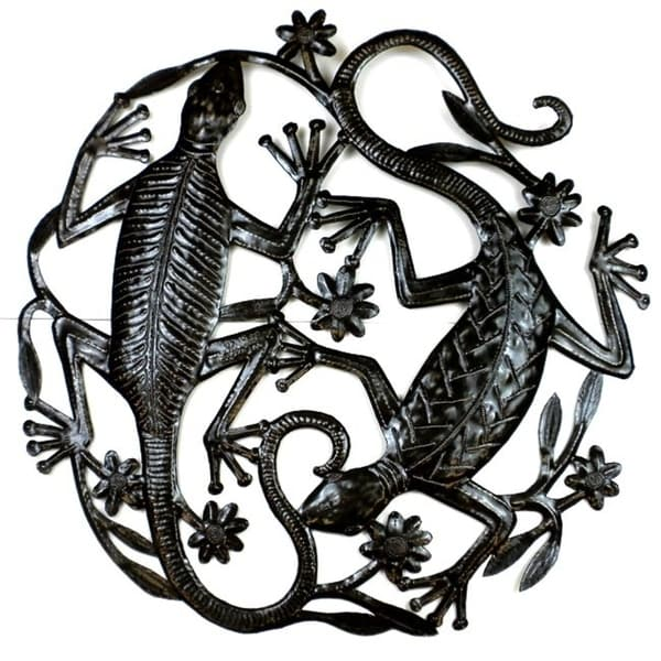 Shop Haitian Metal Art \'Two Geckos\' Wall Out (Haiti) - On Sale ...