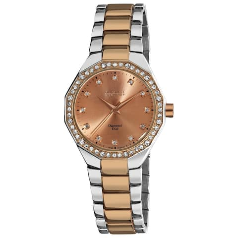 August Steiner Women's Diamond Water-Resistant Swiss-Quartz Two-Tone Bracelet Watch