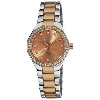 August Steiner Women's Diamond Water-Resistant Swiss-Quartz Two-Tone Bracelet Watch with FREE Bangle
