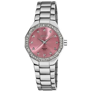 August Steiner Women's Diamond Swiss Quartz Pink Bracelet Watch
