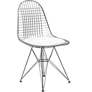 Wire Tower White Vinyl CushionDining Chair