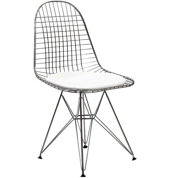 Wire Tower White Vinyl CushionSide Chair