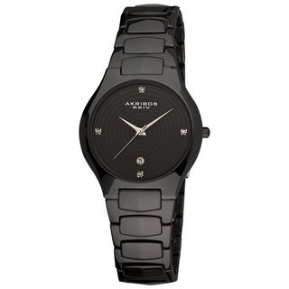 Akribos XXIV Women's Quartz Slim Ceramic Black Watch with GIFT BOX
