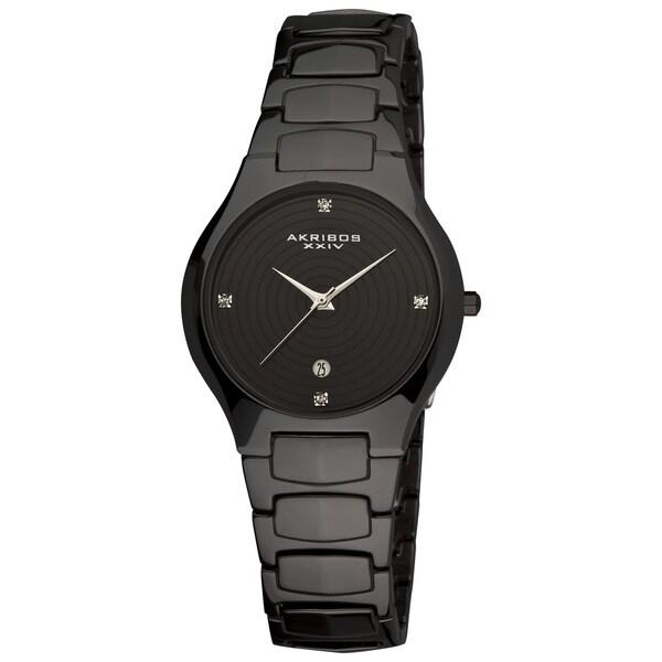 Akribos XXIV Women's Quartz Slim Ceramic Black Watch