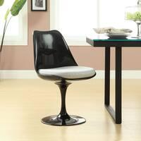 Black Eero Saarinen Style Tulip Dining Chair with White Cushion
