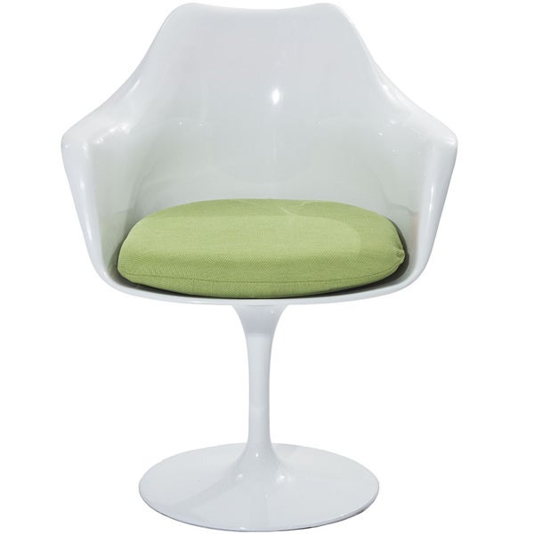 Eero Saarinen Style Tulip Arm Chair with Green Cushion