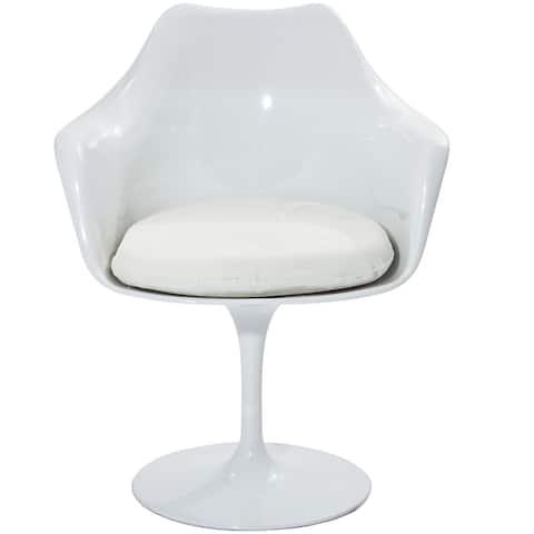 Carson Carrington Mjolby Tulip Arm Chair with White Cushion