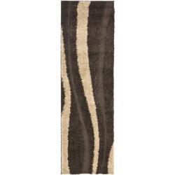 Safavieh Willow Contemporary Dark Brown/ Beige Shag Rug (2'3 x 11') - Thumbnail 1