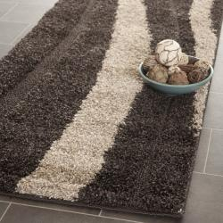 Safavieh Ultimate Dark Brown/ Cream Shag Rug (2'3 x 11')