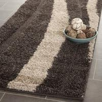 "Safavieh Willow Contemporary Dark Brown/ Beige Shag Runner - 2'3"" x 9'"