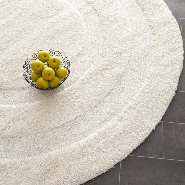 Safavieh Shadow Box Ultimate Cream Shag Rug (4' Round)