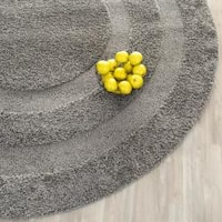 Safavieh Shadow Box Ultimate Grey Shag Rug - 4' x 4' Round