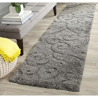 Safavieh Florida Shag Scrollwork Dark Grey Runner (2'3 x 11')