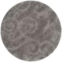 Safavieh Florida Shag Scrollwork Elegance Dark Grey Area Rug (4' Round)
