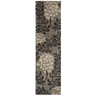 Safavieh Ultimate Shag Smoke/ Dark Brown Floral Runner (2'3 x 11')