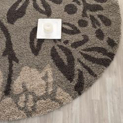 Safavieh Ultimate Shag Smoke/ Dark Brown Floral Area Rug (4' Round)