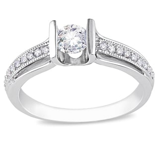 Miadora 14k White Gold 1/2ct TDW Diamond Engagement Ring