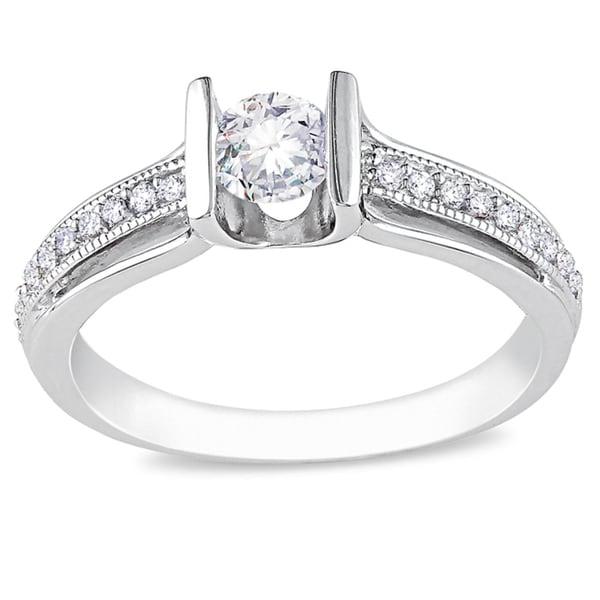 Miadora 14k White Gold 1/2ct TDW Diamond Engagement Ring (H-I, I2-I3)