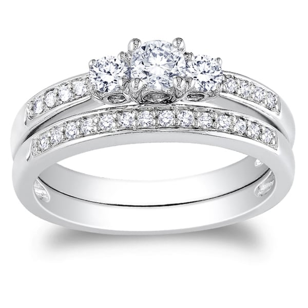 Miadora 14k White Gold 1/ 2ct TDW Diamond Bridal Ring Set (G-H, I1-I2)