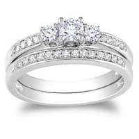 Miadora 14k White Gold 1/ 2ct TDW Diamond Bridal Ring Set (G-H, I1-I2)