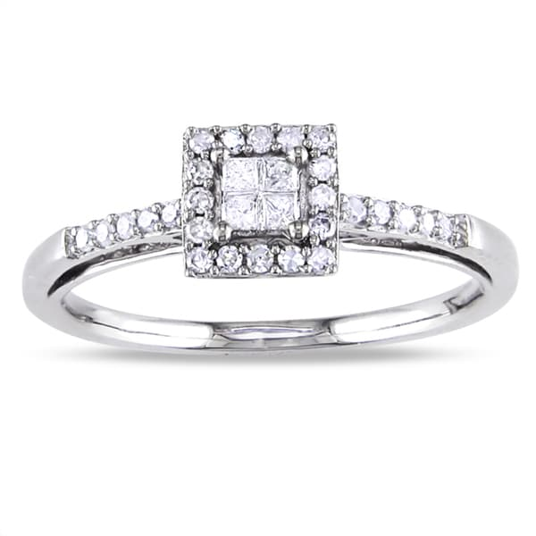 Miadora 14k White Gold 1/5ct TDW Diamond Halo Ring