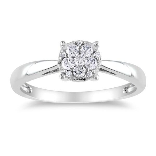 Miadora 14k White Gold 1/5ct TDW Diamond Ring