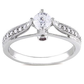 Miadora 14k Gold 1/2ct TDW Diamond and Pink Sapphire Engagement Ring