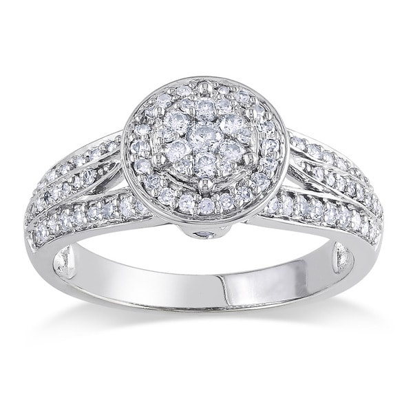 14k White Gold 1/2ct TDW Diamond Halo Ring