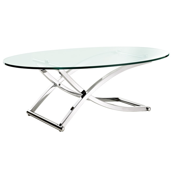 Criss Cross Glass Chrome Oval Coffee Table