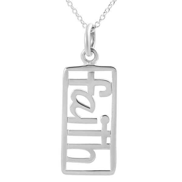 Journee Collection  Sterling Silver Cut-out 'Faith' Tag Necklace
