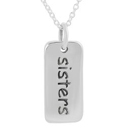 Journee Collection  Sterling Silver 'Sisters' Tag Necklace