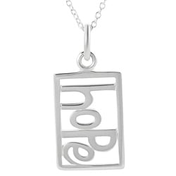 Journee Collection  Sterling Silver Cut-out 'Hope' Tag Necklace
