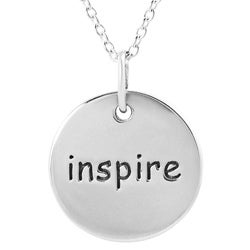 Journee Collection  Sterling Silver 'Inspire' Disc Necklace