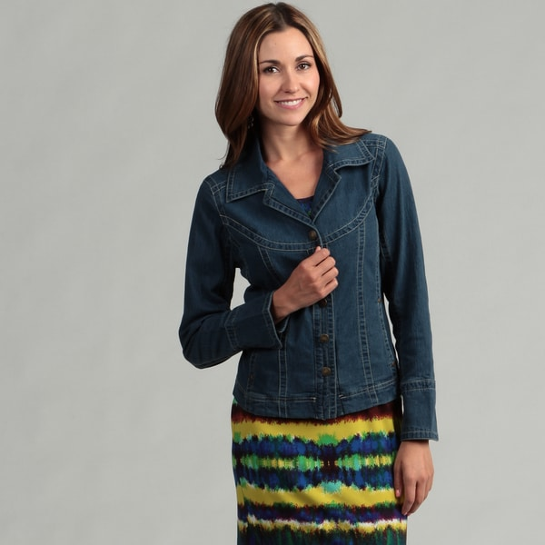 Live A Little Women's Curved Yoke Denim Jacket