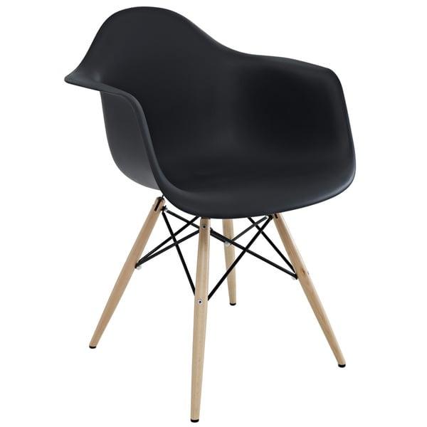 Wood Pyramid Black Arm Chair