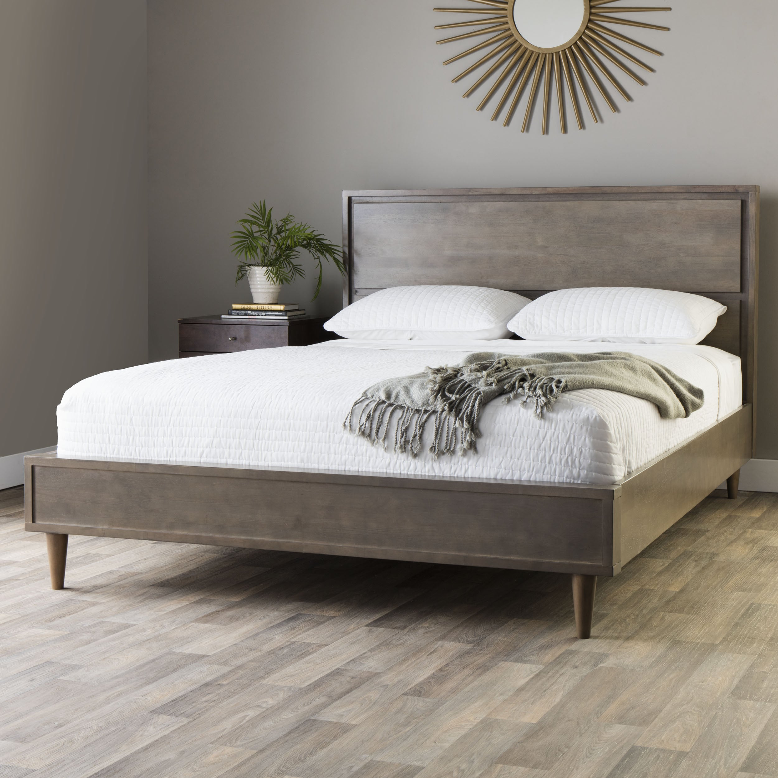 Details about Mid Century Queen Size Platform Bed Charcoal Grey Wood Modern  Bedroom Furniture